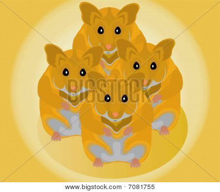 vectorial image of home mammal of red  hamster poster