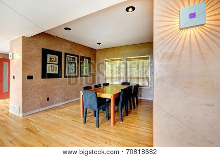 Dining Room In Soft Brown Color