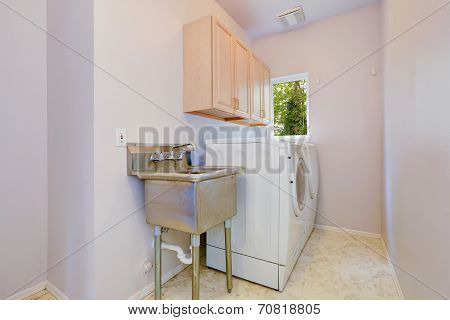 Laundry Room With Old Sink And White Appliances