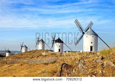 Windmills in Consuegra province of Toledo, Castile-La Mancha, Spain poster