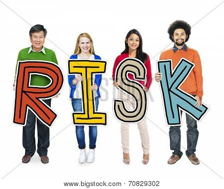 Group of People Standing Holding Risk Letter