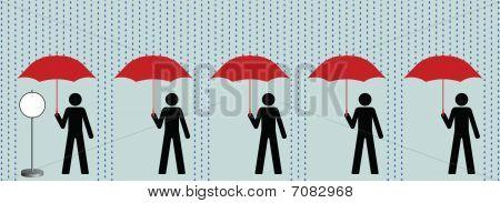 Queue in rain
