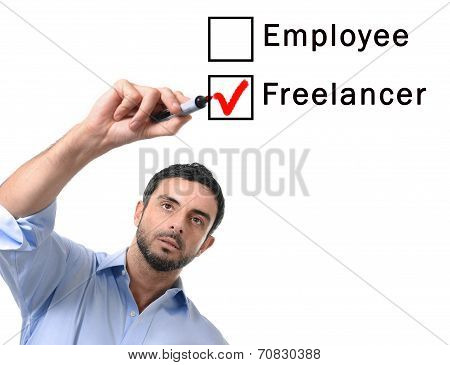 Businessman Choosing Freelancer To Employee At Formular Ticking Box With Red Marker