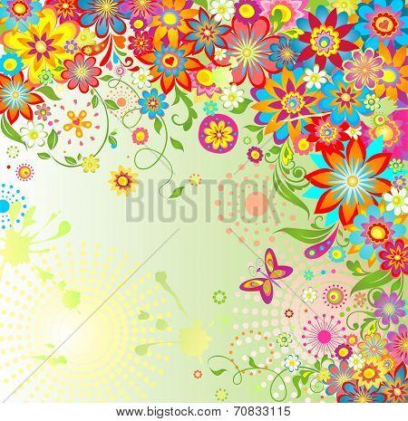 Summery flowers. Raster copy