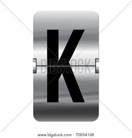 Silver Flipboard Letter - Departure Board - K