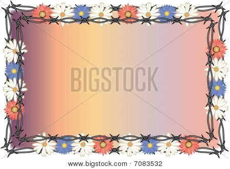 Wired Fence and Flowers Background