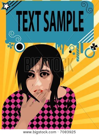Emo girl  illustration with text-box