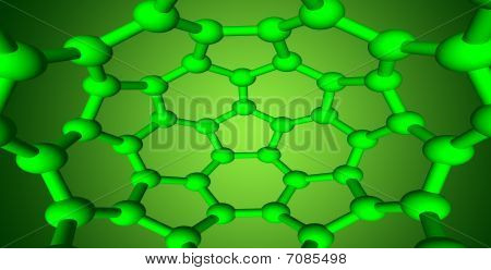 Molecilar Structures On Green Background