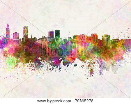 Baton Rouge Skyline In Watercolor Background
