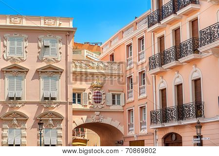 MONACO-VILLE, MONACO - JULY 13, 2013: Typical architecture of Monaco with embedded coat of arms - Royal Arms of Prince Albert II which is reigning monarch and head of Princely House of Grimaldi.