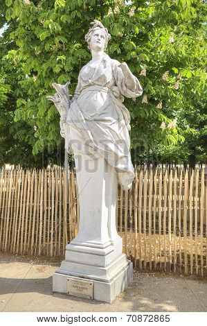 In The Tuileries Gardens. Ancient Sculpture Of Ceres