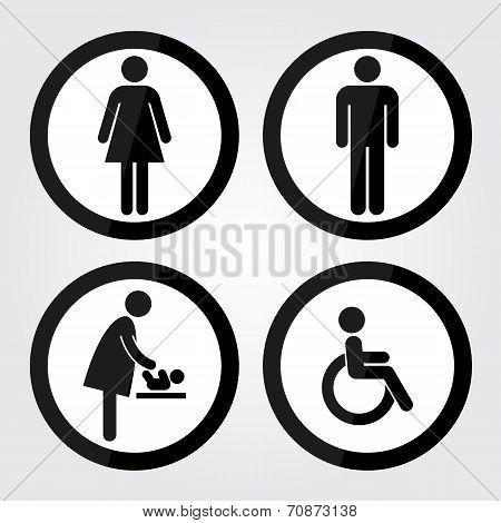Black Circle Toilet Sign With Black Circle Border, Man Sign, Women Sign, Baby Changing Sign, Handica