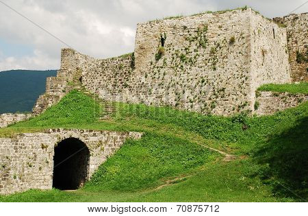 Fortress dating from around the fourteenth century in Jajce in the Bosanska Krajina region of cental Bosnia and Herzegovina. It was built by Hrvoje Vukcic Hrvatinic the founder of Jajce. The exit to the southeast entrance can be seen on the left poster
