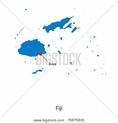 Detailed vector map of Fiji and capital city Suva poster