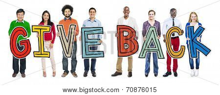Multiethnic Group of People Holding Give Back