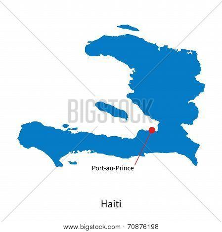 Detailed vector map of Haiti and capital city Port-au-Prince