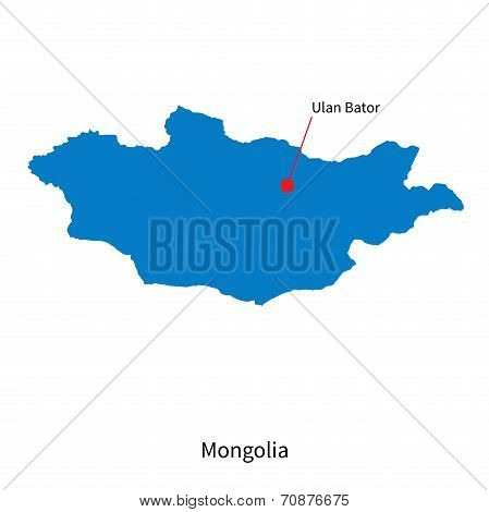 Detailed vector map of Mongolia and capital city Ulan Bator