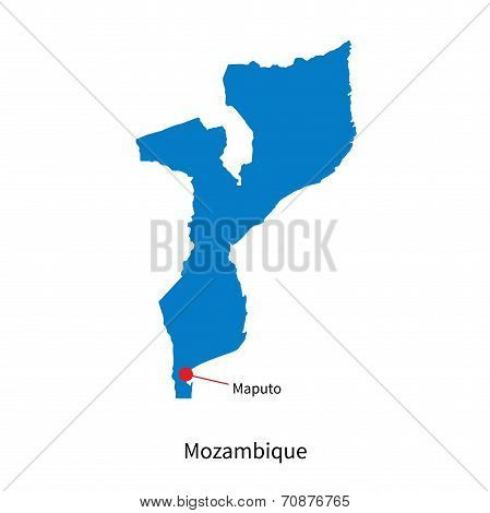 Detailed vector map of Mozambique and capital city Maputo