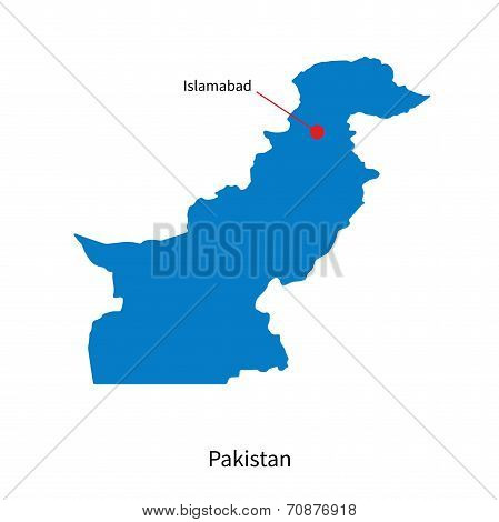 Detailed vector map of Pakistan and capital city Islamabad