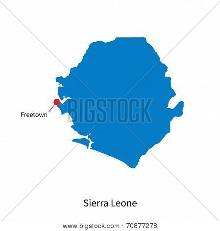 Detailed vector map of Sierra Leone and capital city Freetown poster