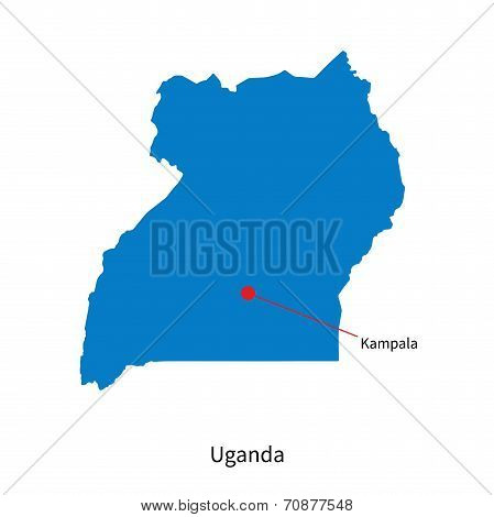 Detailed vector map of Uganda and capital city Kampala