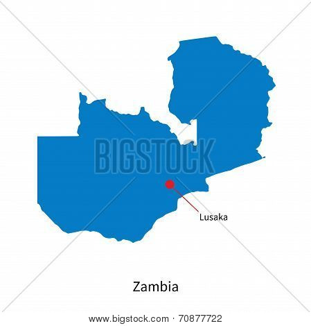 Detailed vector map of Zambia and capital city Lusaka poster