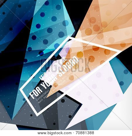 Modern 3d glossy overlapping triangles in different colors with texture and light effects. Business brochure background design with copyspace poster