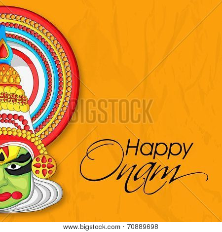 Indian cultural Kathakali dancer face on grungy yellow background for South Indian festival Happy Onam celebrations.