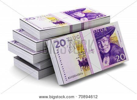 Stacks of 20 Swedish krones
