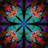 Symmetrical pattern in stained-glass window style. Blue and red palette. Computer generated graphics. poster