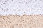 Details of lace fabric: white and beige. poster