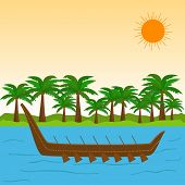 South Indian festival Happy Onam celebrations with wooden snake boat in the river and coconut trees.  poster