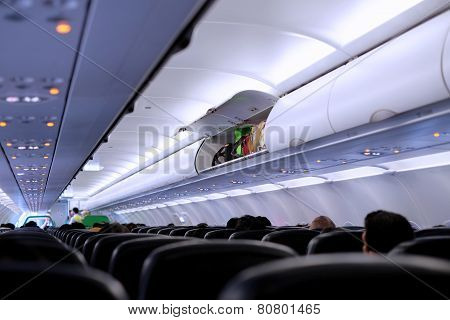 Luggage begs inside aircraft