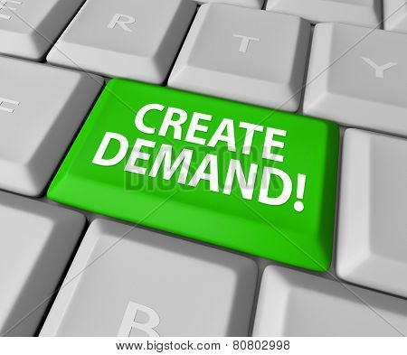 Customer Demand words on a green computer keyboard key or button to illustrate building an online business and growing your customer base poster