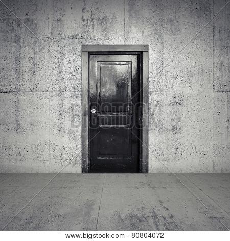 Abstract Empty Concrete Interior With Black Wooden Door