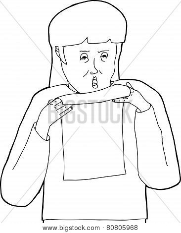 Outline Of Angry Woman With Letter