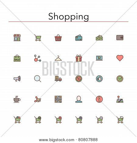 Shopping Colored Line Icons