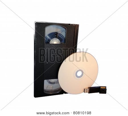 Vhs, Cd Disk, Usb Flash Drive And Memory Card