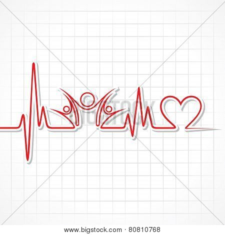 Heartbeat with a unity symbol in line stock vector