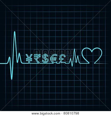 Heartbeat with a currency symbol in line stock vector
