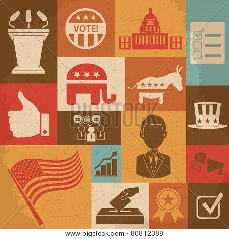 Retro political election campaign icons set. Vector illustration