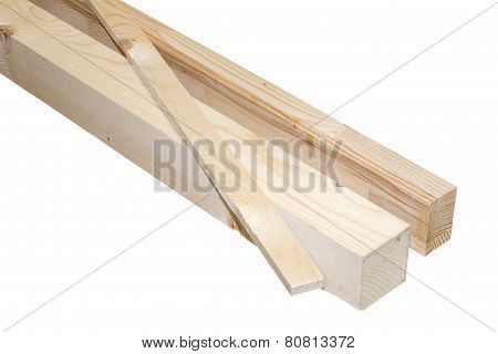Wooden Beams In Different Shapes, Isolated On White Background With Clipping Path.