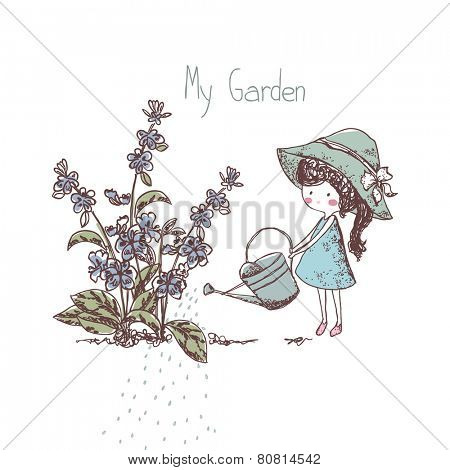 gardening theme, girl watering flowers