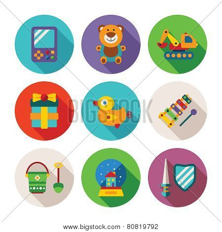 Set Of Vector Colorful Kids Toys Icons In Flat Style