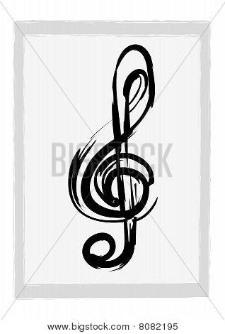 Illustration of a grunge G clef
