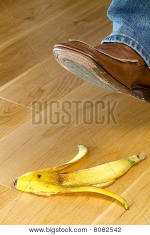 Foot About To Tread On A Banana Skin