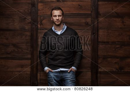young handsome man in urban background