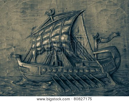 bas-relief of the galleon