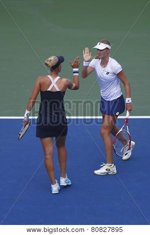 US Open 2014 women doubles champions Ekaterina Makarova and Elena Vesnina during quarterfinals match