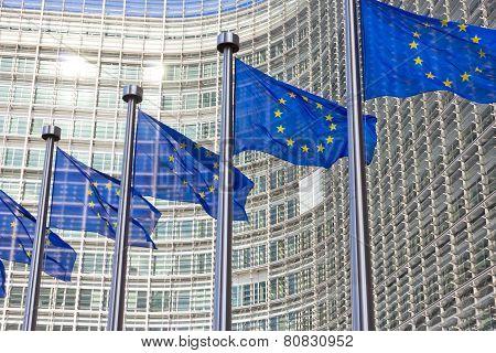 Flags Eu Commission Building